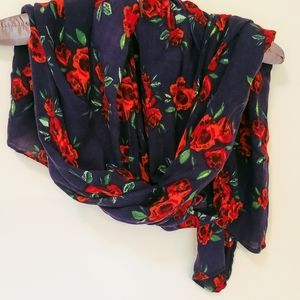 Lightweight Scarf - Blue & Red Roses